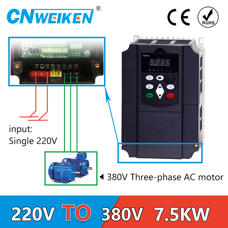Boost Inverter 7.5KW / 11KW Frequency Converter 1P 220V to 3P Output CNC Spindle motor speed Control VFD Converter