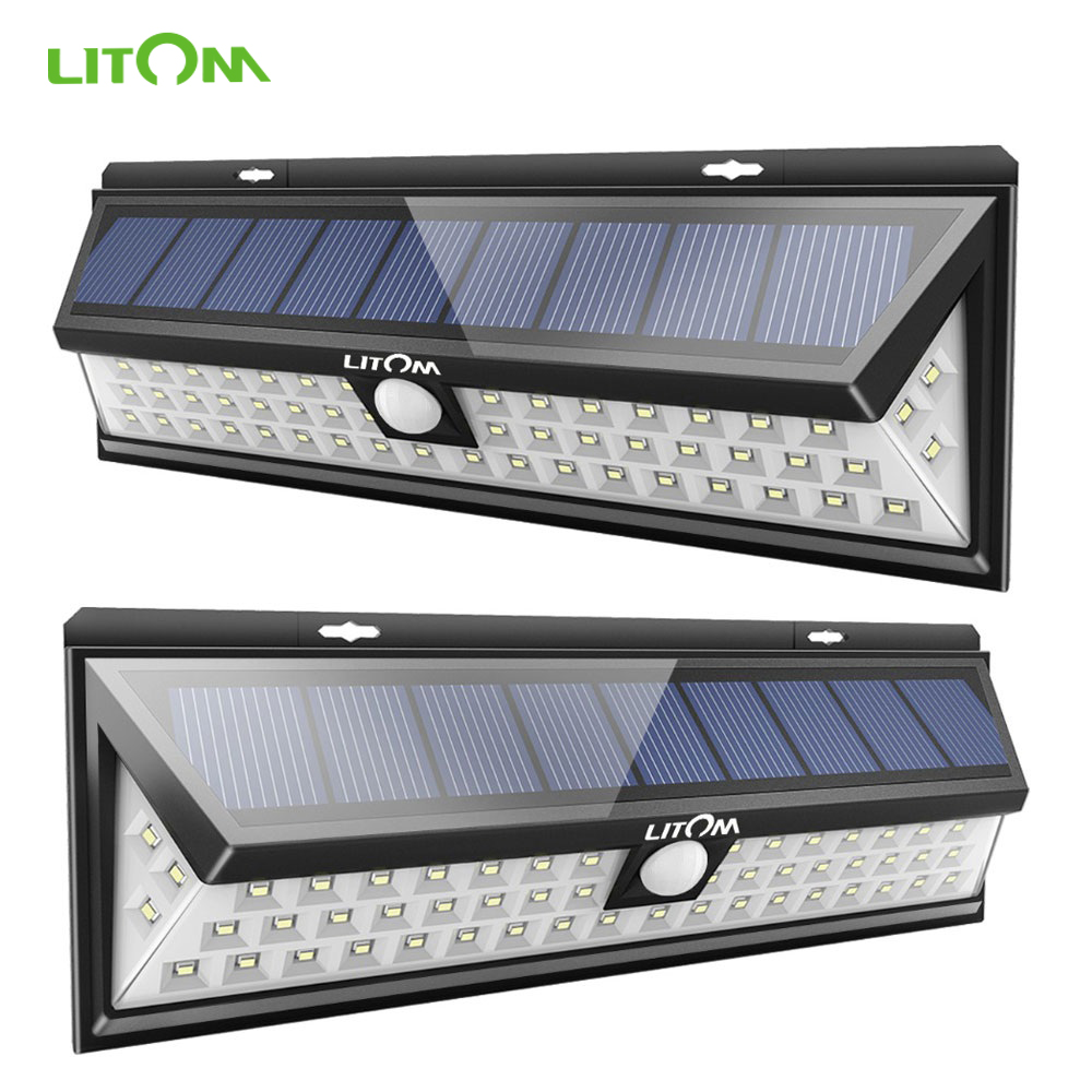 2PACK 54 LED Solar Lights Motion Sensor Wall Light Waterproof Garden Yard Lamp