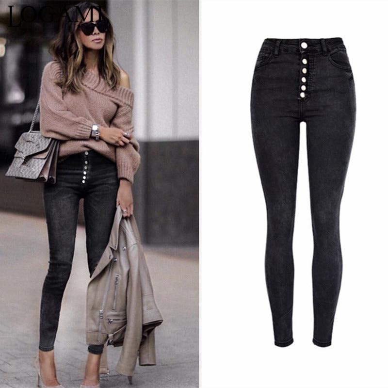 Rational Logami Autumn Winter Womens Stretch Jeans Button Denim Pants High Waist Skinny Jeans Black