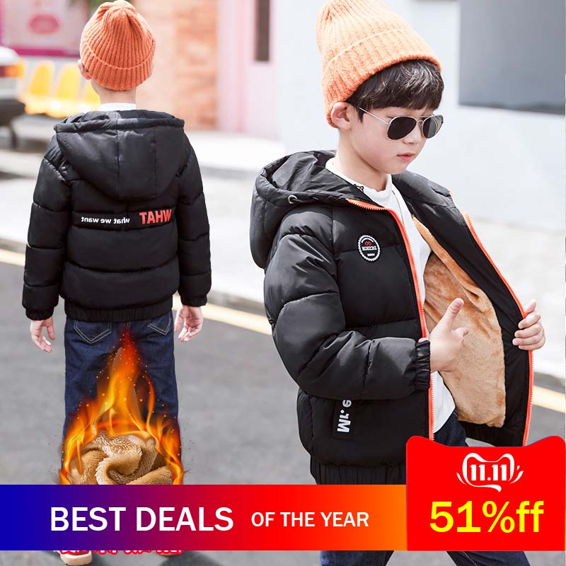 2019 New Thick Velvet Children Boys and Girls Winter Down Jacket Casual Warm Hooded Clothes