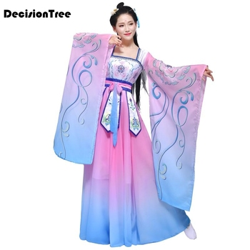2020 ancient chinese costume women stage performance outfit hanfu costume satin chinese traditional printed folk dance dress