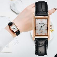 Moda kwadratowa tarcza czarne skórzane zegarki kwarcowe dla kobiet Casual Business sport sukienka zegarki damskie Wrist Watch Relogio tanie tanio QUARTZ NONE CN (pochodzenie) ALLOY Nie wodoodporne Moda casual 13mm Rectangle Brak Szkło XR4507-BK 24cm Nie pakiet 39mm