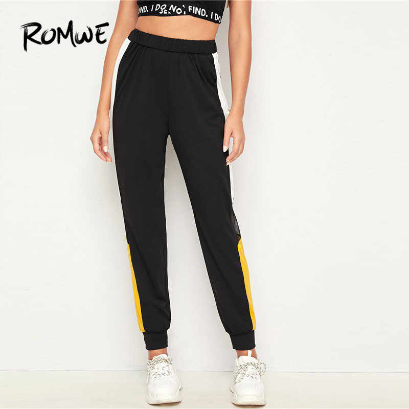 Romwe sportif örgü eklemek Colorblock koşu pantolonları kadın siyah şeffaf güz 2019 giyim spor egzersiz pantolonları koşu Sweatpants
