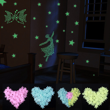 Kids Home Decor zrób zdjęcie fluorescencyjne świecące w ciemności gwiazdy świecące naklejki ścienne gwiazdy i księżyc świecące dzieci Glow Decal tanie i dobre opinie Unisex Baby Souvenirs 100PCS Mixed Plastic Support Wholesale Support Retail
