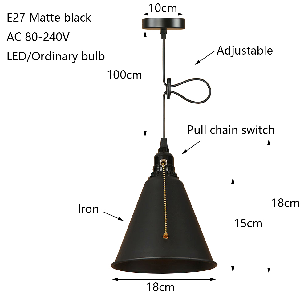Modern iron painted Nordic style pull chain switch hanging lamp E27 LED 220V art deco pendant Light fixture Kitchen parlor study