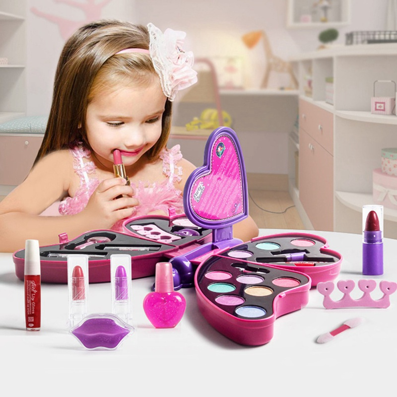 Girl Pretend Play Lipstick For Kids Makeup Kit Toys Princess Girl Butterfly Shape Make Up Set Eye Shadow Cosmetics For Kids Girl
