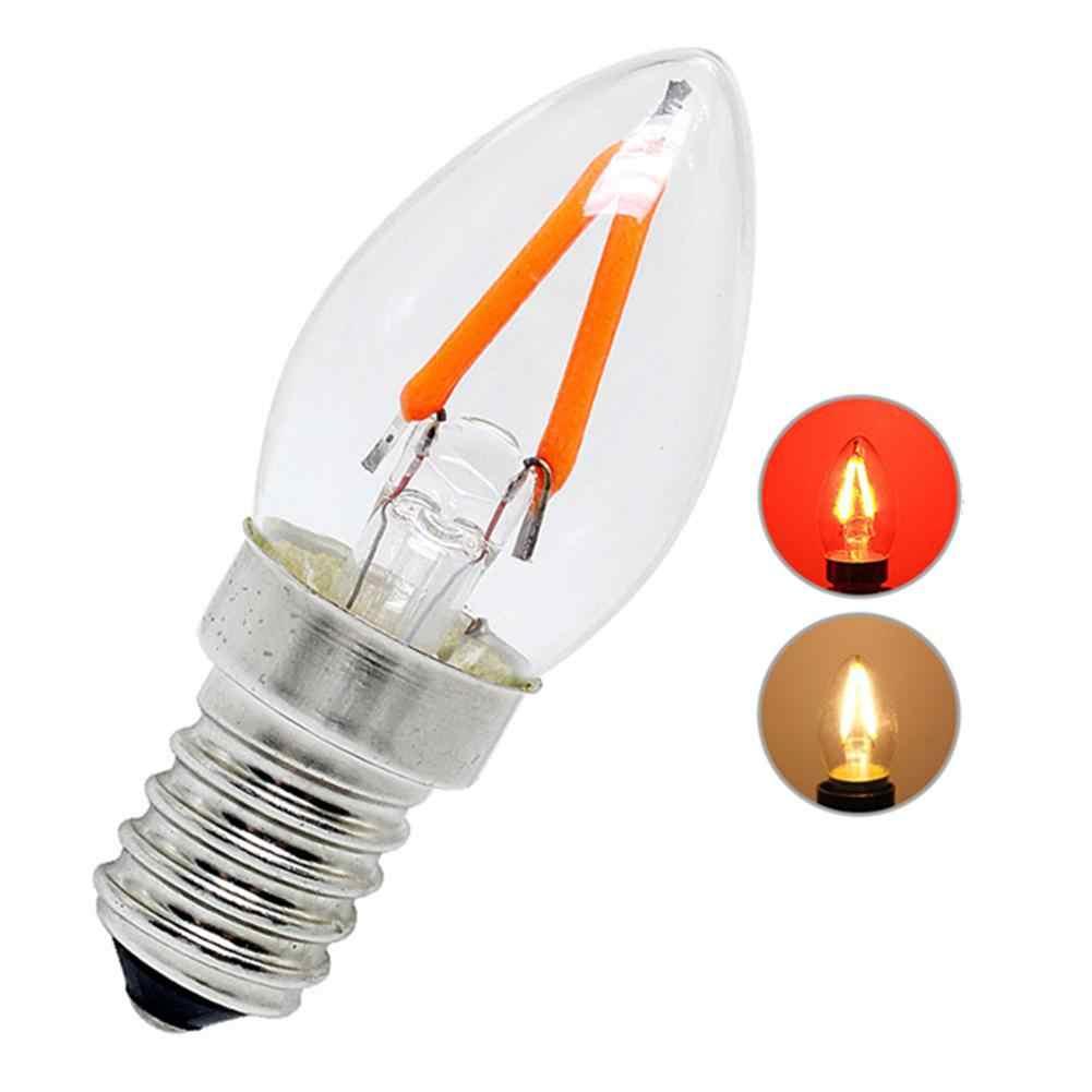 E12 Mini bougie lumière nuit ampoule réfrigérateur lumière 2W Led vis Port 110V 220V lampe lustre lampe rouge lumière blanc chaud