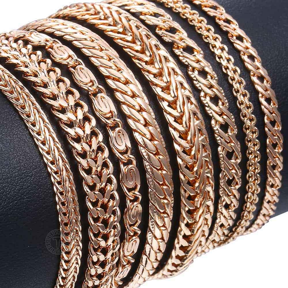 20cm Armbänder Für Frauen Männer 585 Rose Gold Curb Schnecke Fuchsschwanz Venitian Link Ketten männer Armbänder Modeschmuck geschenke KCBB1