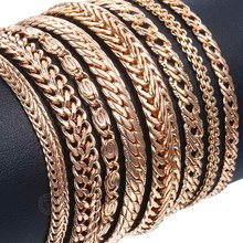 20cm Bracelets For Women Men 585 Rose Gold Curb Snail Foxtail Venitian Link Chains Men's