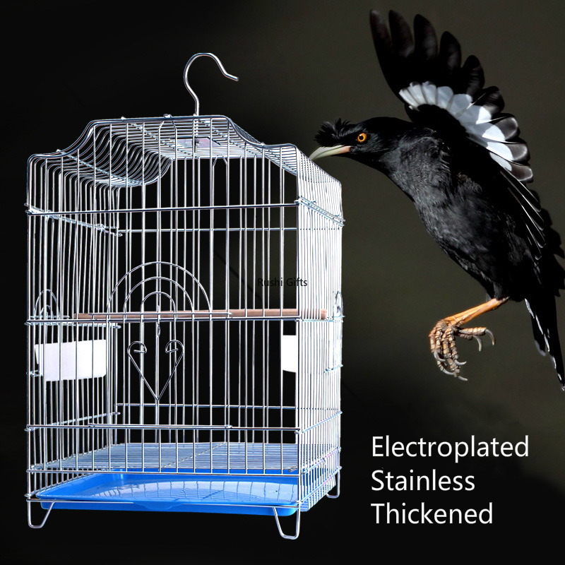 Thickened Electroplated Stainless Steel Bird Cages Large Parrot Cage Myna Thrush Pigeon Parrot Cage Bird Supplies Bird House