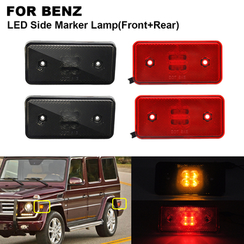 4PCS LED Side Marker Turn Signal Light For BENZ W463 02-14 2PCS x Smoked Front Amber 2PCS x Red Rear Red Side Indicator Lamp