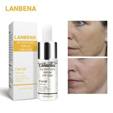 LANBENA Face Serum 24K Gold Six Peptides Day Essence Anti-Aging Wrinkle Lift Firming Whitening Moisturizing Acne Treatment Serum