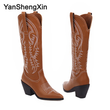 YANSHENGXIN Shoes Woman Boots Embroidery Genuine Fur High Heel Women Autumn Winter Pointed Toe Slip-on