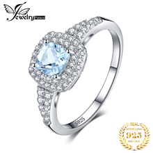 купить JewelryPalace Cushion Cut 0.9ct Natural Aquamarine Halo Engagement Ring 925 Sterling Silver Jewelry Engagement Rings For Women по цене 976.32 рублей