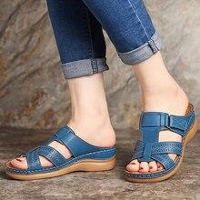Mulheres chinelos de verão plataforma dedo do pé aberto gancho loop mulher cruz casual sapatos de praia feminino costura oco para fora slides sapatos