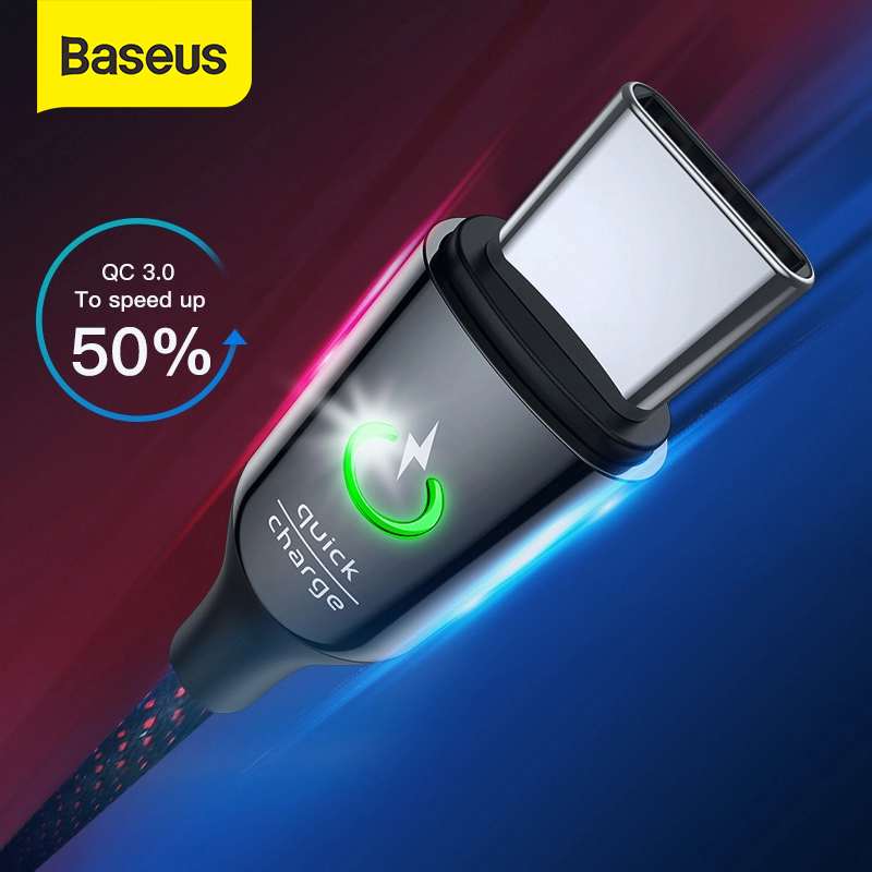 Baseus USB Type C Cable for Xiaomi Redmi Note 7 Pro Quick Charge 3.0 USB C Cable Intelligent Power Off LED USB Cable for Xiaomi8|Mobile Phone Cables|   - AliExpress