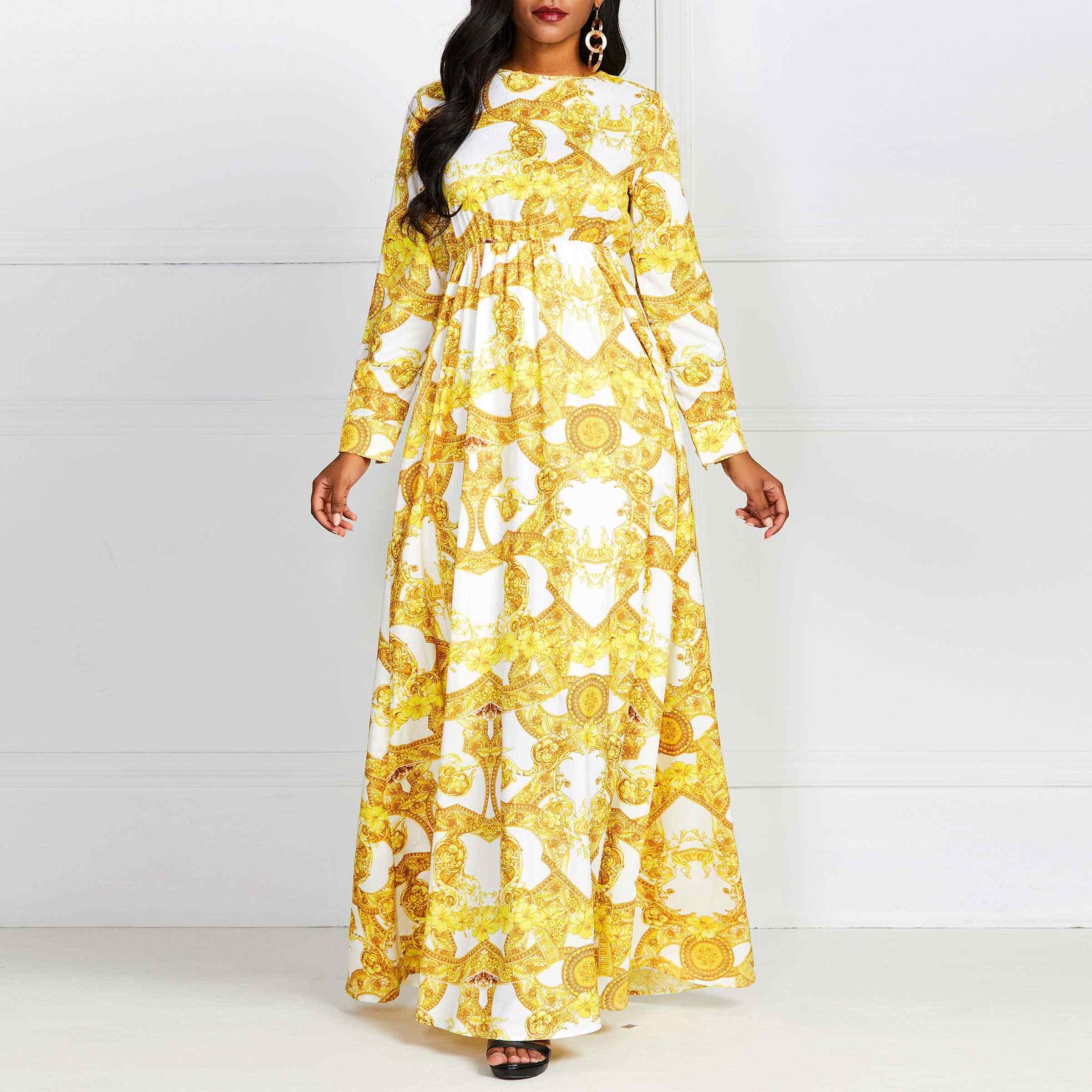 Летние Элегантные Boho желтые африканские черные женские длинные платья Плюс Размер повседневные с принтом этнические 2019 женские модные макси платья
