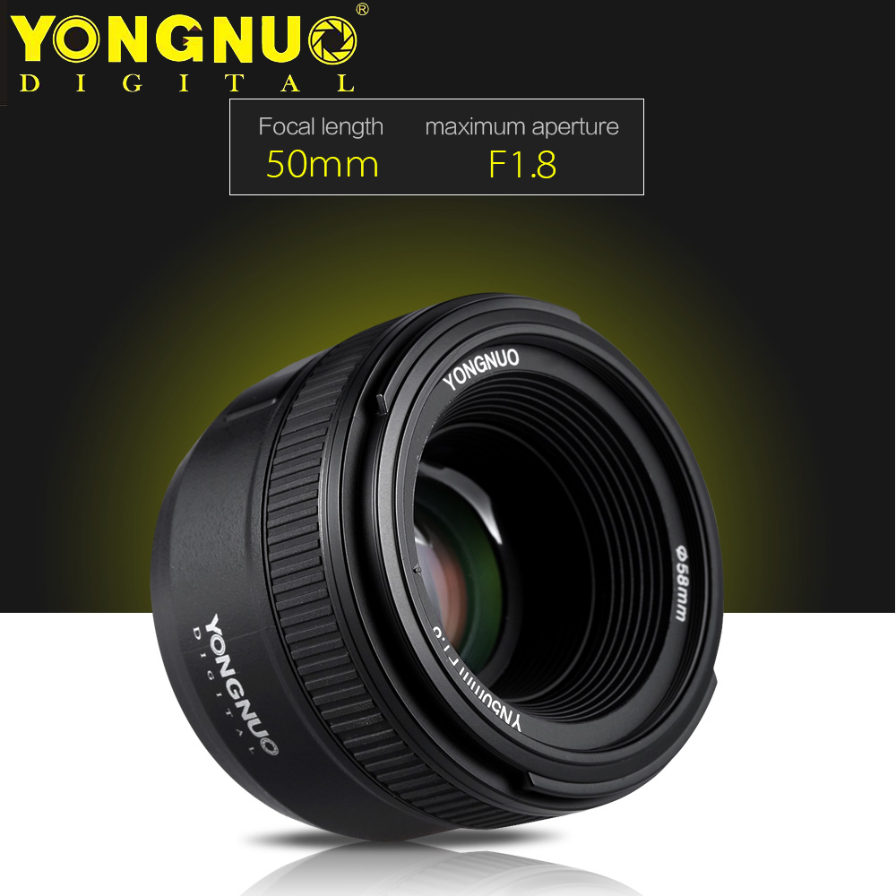 Objectif de caméra YONGNUO YN50MM F1.8 AF pour Nikon D800 D300 D700 D3200 D3300 D5200 D5300 objectif de caméra reflex numérique à grande ouverture