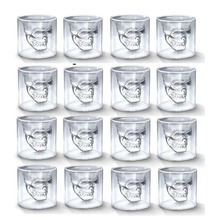 16pc Skull Head Cup 25ML Double Transparent Glass Beer Whiskey Vodka Wine Water Champagne Cocktail Wine Glasses Coffee Milk Mugs crystal skull head vodka whiskey glass cup