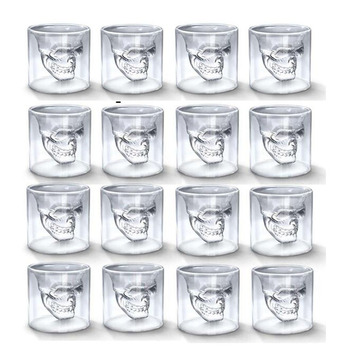 Skull Head Cup 25ML Double Transparent Shot Glass Beer Whiskey Vodka Wine Water Champagne Cocktail Glasses Coffee Milk Mugs