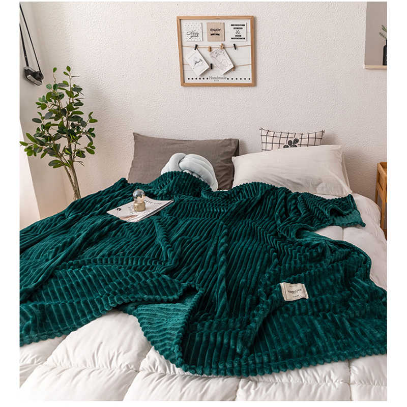 Blankets For Beds Solid Yellow Green Color Soft Warm Flannel Blanket On the Bed Thickness Throw Blanket