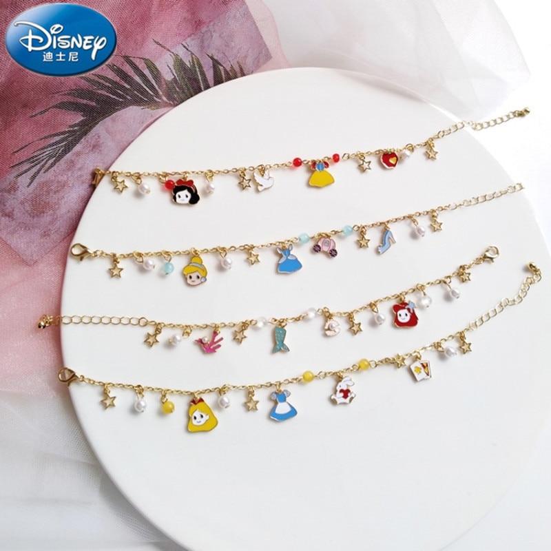 Disney Sweet Dream Girl Fairy Tale Princess Series Bracelet Alice Cinderella Snow White Mermaid Girl Gift Doll Accessories
