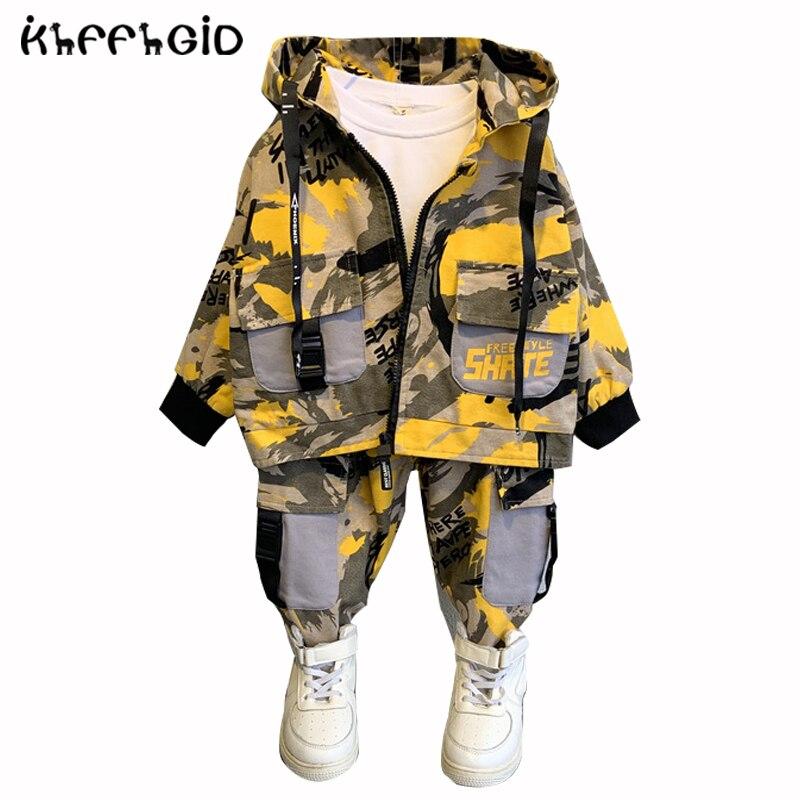 Дети 2021 новый летний campBoy одежда Камуфляжный комплект для малышей пальто с капюшоном с камуфляжным принтом Топ + штаны, комплект детской спо...