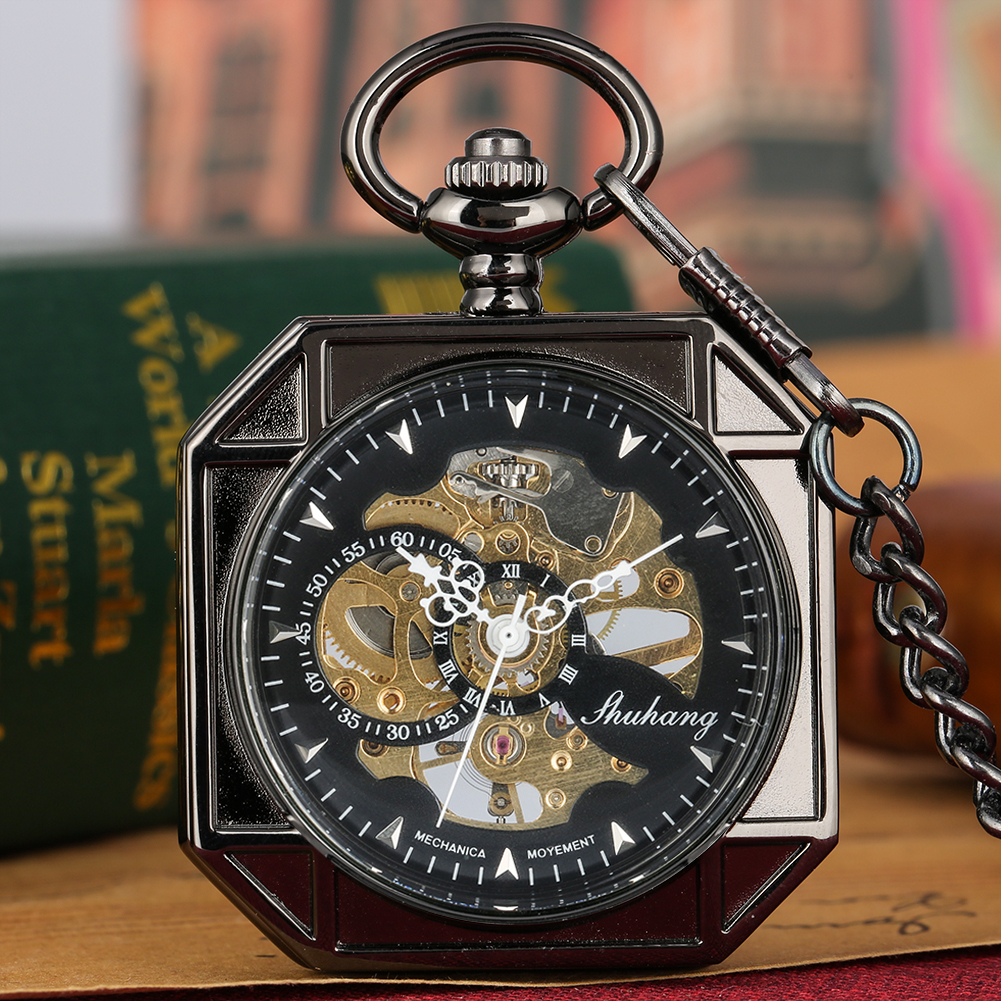 Vintage Octagonal Mechanical Hand Wind Pocket Watch Skeleton Dial Pendant Watch Fob Chain Clock Hours Men Women Gifts Relgio
