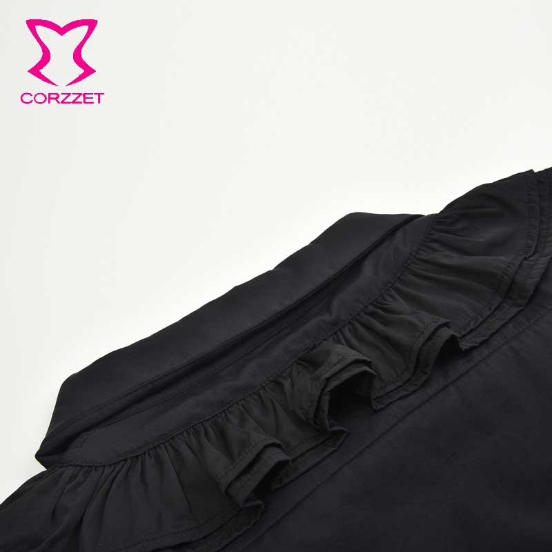 ÕCloseout DealsMan Shirts Steampunk Long-Sleeves Blouse Collar Ruffles-Stand Black Casual Men's Costume