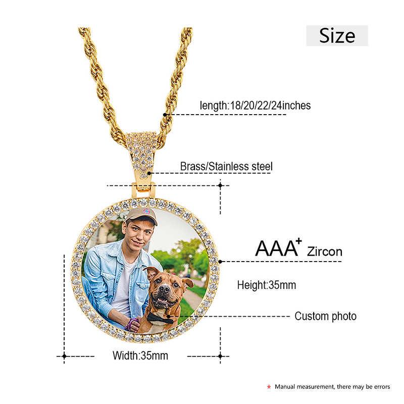 Gorąca klienta zdjęcie wisiorek naszyjnik osobowość biżuteria męska Hip Hop z 4mm łańcuch tenisowy Cubic cyrkon róża w kolorze różowego złota złoty