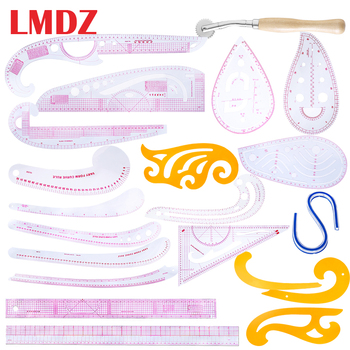 LMDZ 21Pcs Fashion Design Ruler Set Pattern Design Ruler Sewing Rules with Stitching Wheel Tool for Needlework/Sewing/Embroidery