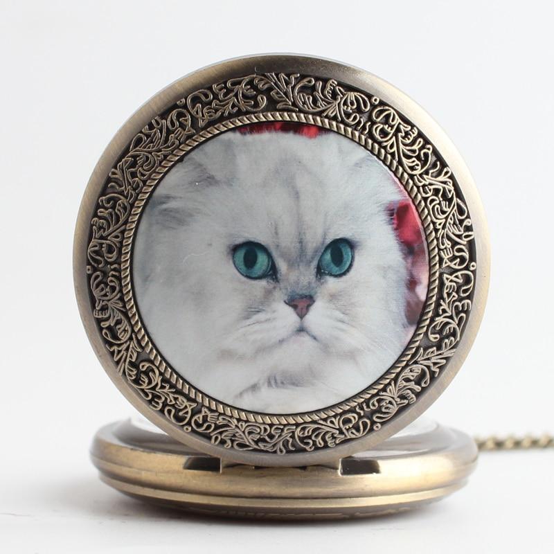 Pocket & Fob Watches Bronze White  Elegant Cat Animal Quartz Pocket Watch Pendant Chain Necklace for Women/Men Watch Gift