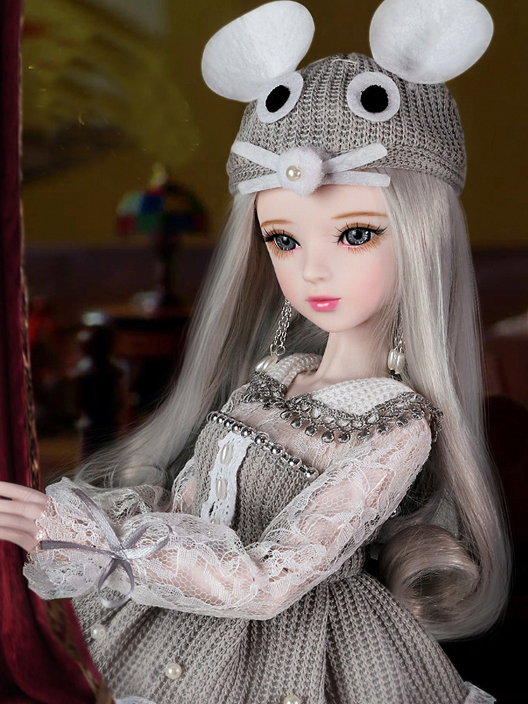 New 60cm Handmade Full Set Bjd 1/3 Dolls With Makeup Miss Mouse Princess Cat Big Size Jointed Girl Doll Toys For Girls Gift