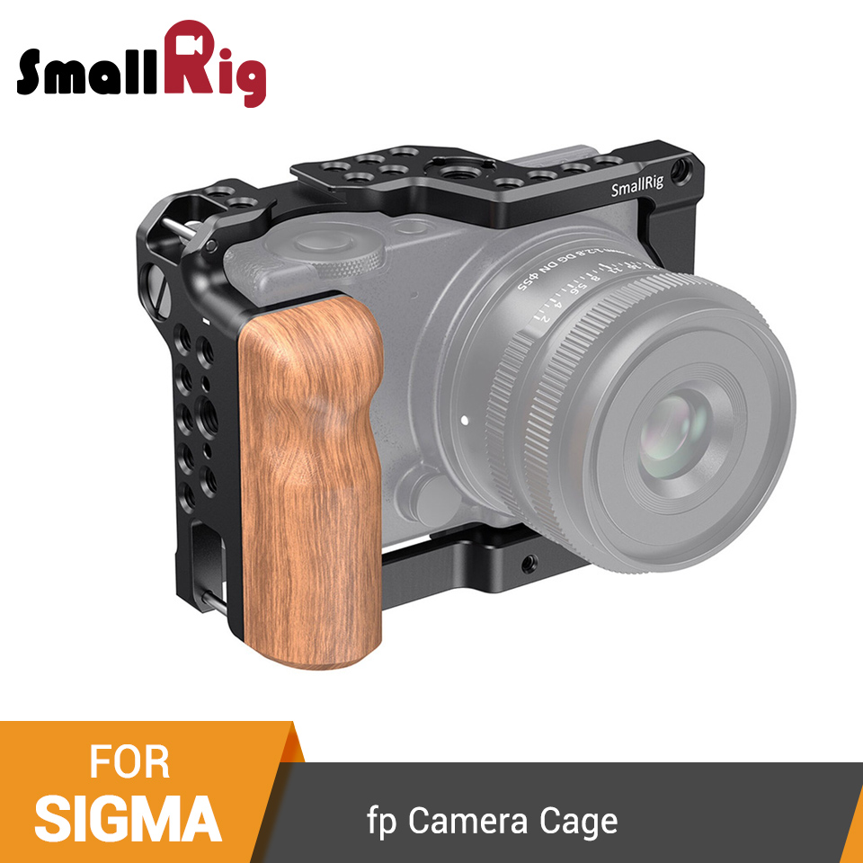 SmallRig Cage With Wooden Handgrip For SIGMA Fp Camera Cage With Cold Shoe Mount Video Shooting Cage Kit - 2518