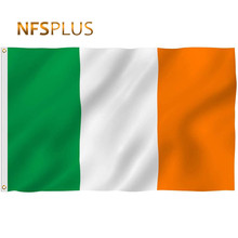 Ireland Flag 90x150cm Polyester Green White Orange 3 Color Printed Brass Grommets Home Decorative Irish National Flag and Banner(China)