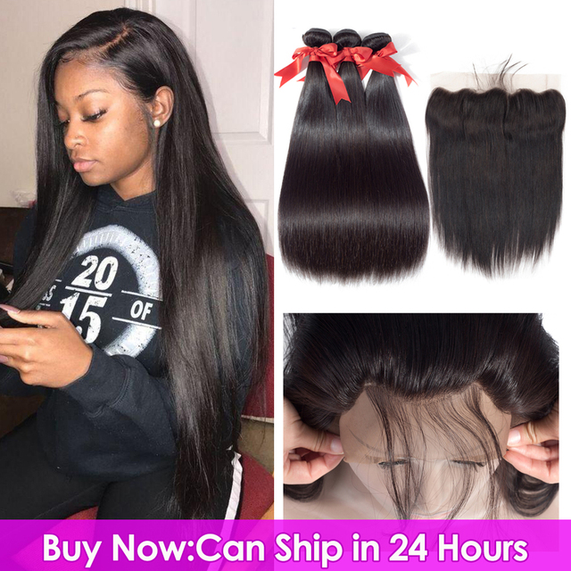$ US $45.96 Beaudiva Brazilian Straight Hair Weave Bundles With Frontal Closure Lace Frontal With Bundles Human Hair Extension Hair Bundles