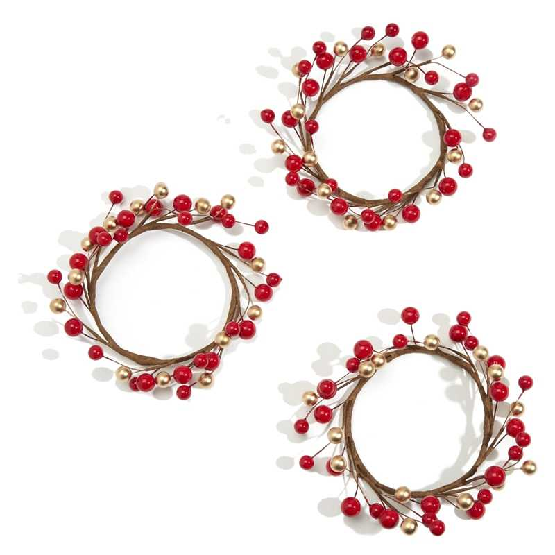 3Pcs Candle Rings for Pillars,Red and Gold, Small Wreaths for Christmas,Rustic Wedding Centerpiece or Table Decoration