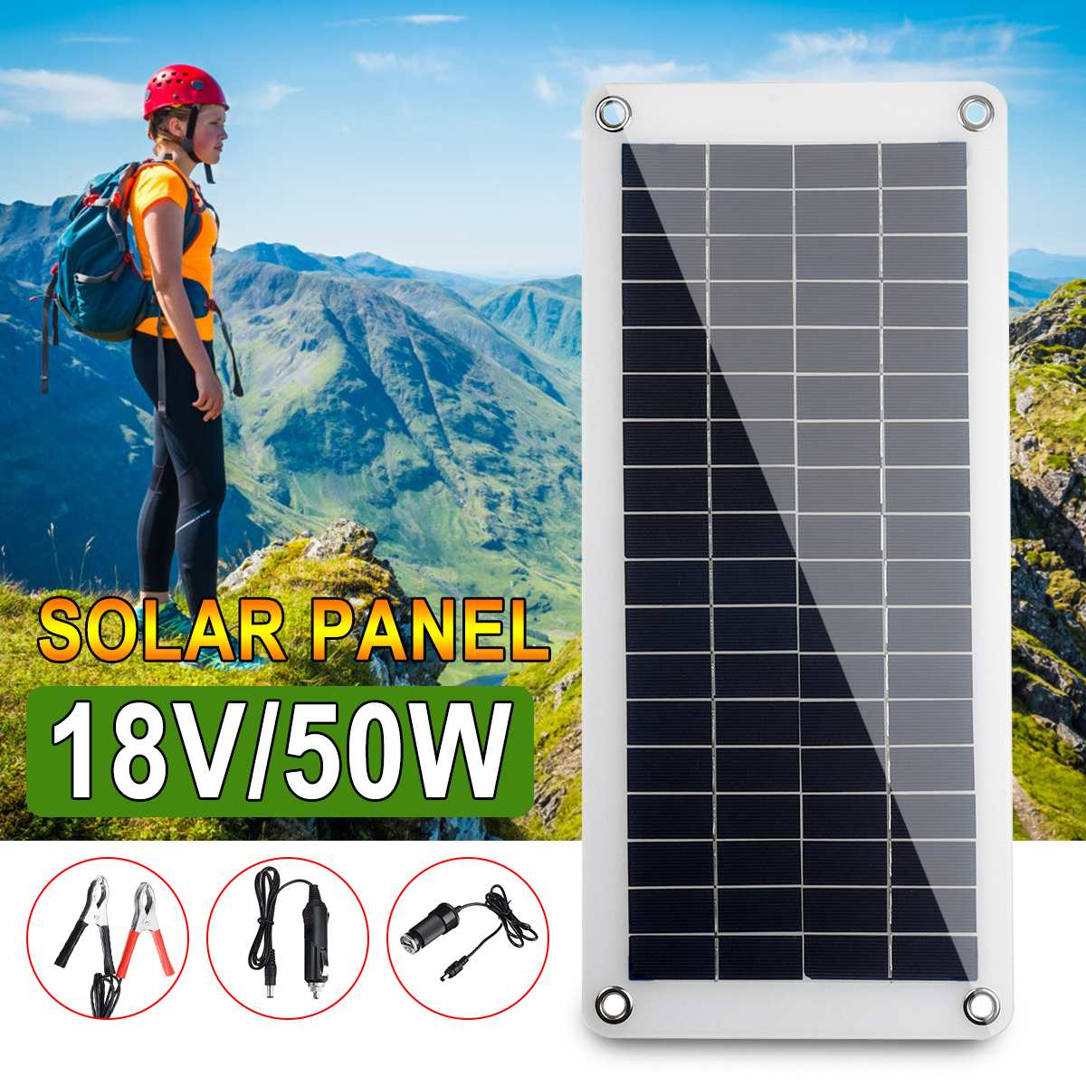 50W 18V Solar Panel Solar Cell Cell Module DC For Car Yacht Led Light RV Battery Boat Outdoor Charger