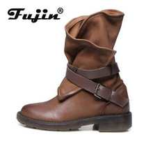 цены fujin Women Botas 2019 Women Fashion Vintage Mid Calf Boots Soft Leather Shoes Female Autumn Winter Motorcycle Boots Comfortable