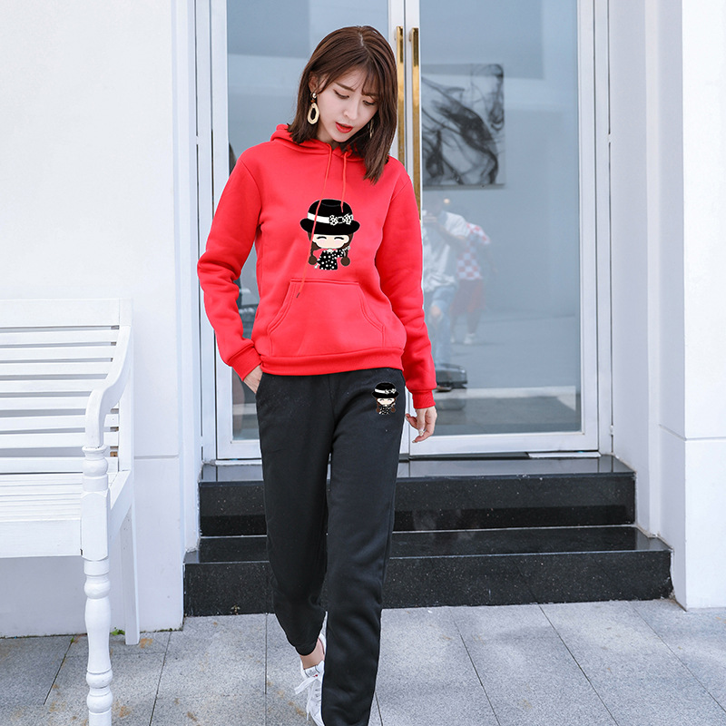 INS Autumn And Winter New Style Super Fire Casual Hoodie Long Sleeve Loose-Fit Sports Clothing Two-Piece Women's Korean-style Se