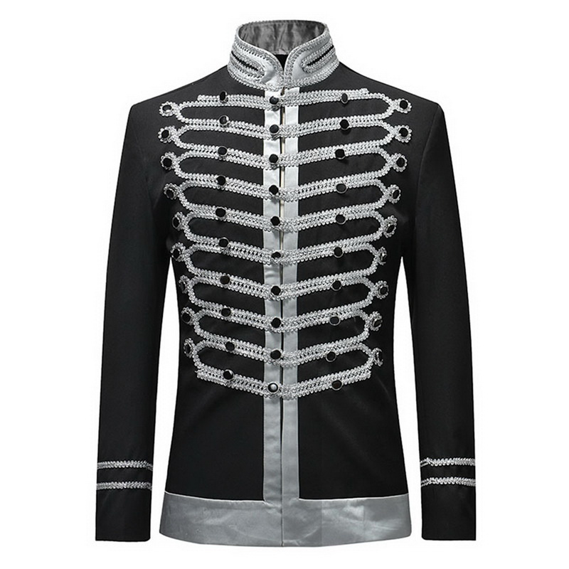 2020 Vintage Blazers Retro Steampunk Gothic Suit Jackets  Stage Costume For Party Mens Black White Luxury Coat