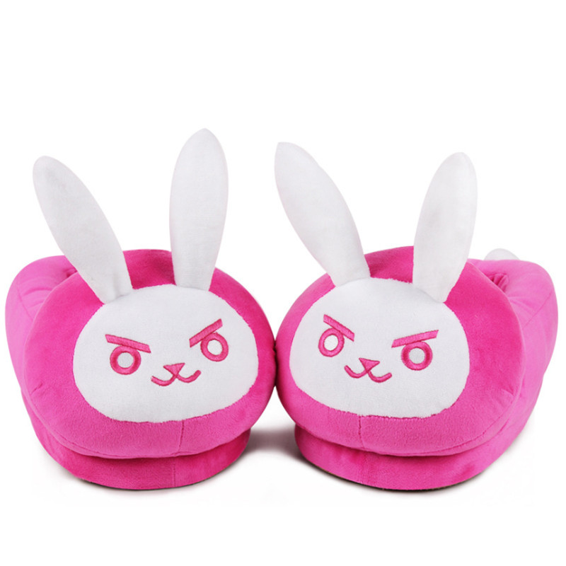 Plush home slippers warm cotton shoes game Overwatch Pink D.Va rabbit Cosplay shoes Women /Men lovers slippers adult size. image