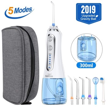5 Modes Oral Irrigator USB Rechargeable Water Floss Portable Dental Water Flosser Jet 300ml Irrigator Dental Teeth Cleaner+5 Jet 1