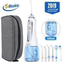 5 Modes Portable Oral Irrigator USB Charging Water Flosser Dental  Water Floss Rechargeable 300ml Teeth Cleaner + 5 Jet Tips&Bag portable dental spa water floss oral care teeth cleaner irrigator water jet floss pick water flosser teeth cleaner