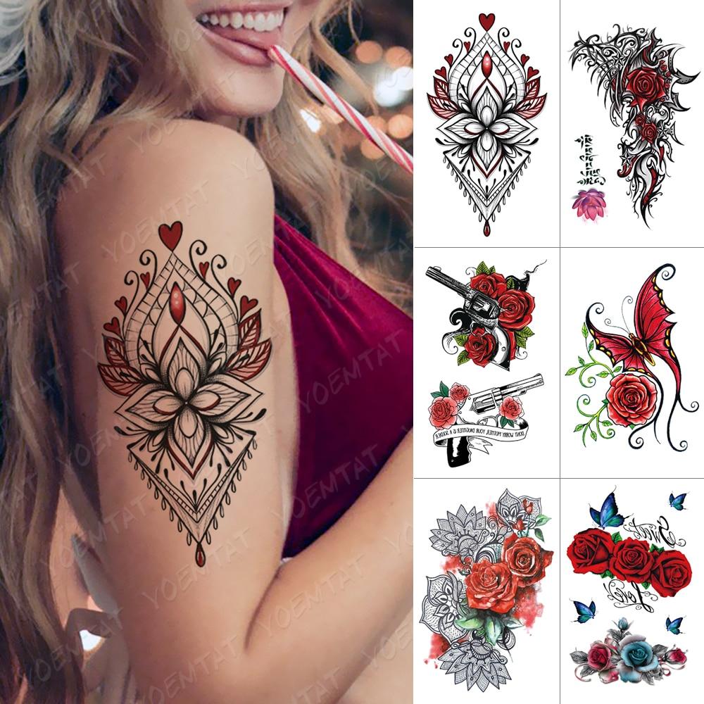Waterproof Temporary Tattoo Sticker Rose Heart Flash Tattoos Butterfly Lace Flower Body Art Arm Water Transfer Fake Tatoo Women