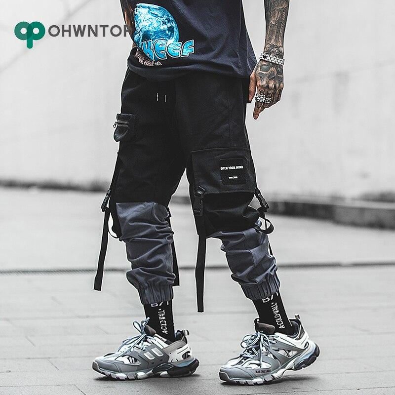 Fashion Patchwork Cargo Pants Streetwear Hip Hop Ribbons Joggers Pants Men Japanese Style Black Casual Track Pants Men Trousers