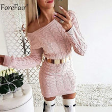 Forefair Off Shoulder Long Sleeve Knitted Sweater Dress Women Casual Pink Gray Autumn Winter Warm Elegant Sexy Lady Dresses(China)