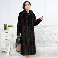 Fur quality Real Mink Superior Coat Women China Full Sleeve Thick Warm Long Genuine Natural Fur Coats With Hood Plus size 6xl s