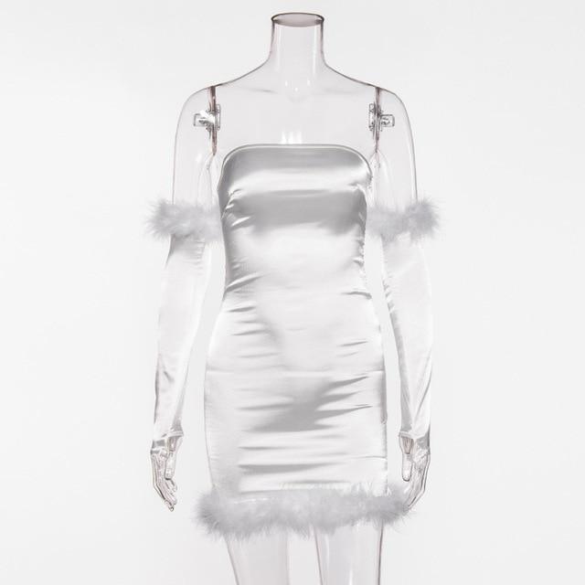 Vestidos femininos, moda primavera e verão, saias na moda, ajuste, costura de pelúcia, gola de uma linha, saia de peito enrolado, vestidos