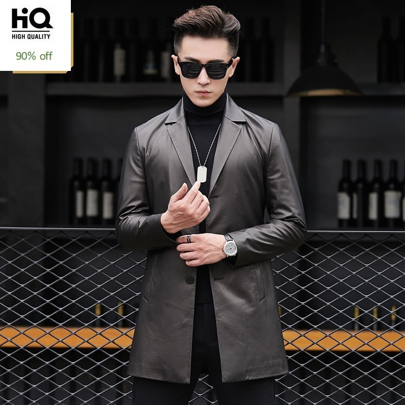 4XL High Quality Real Leather Business Jacket Men Slim Sheepskin Coat Man Thicken Single-Breasted Mens Long Leather Trench Coat